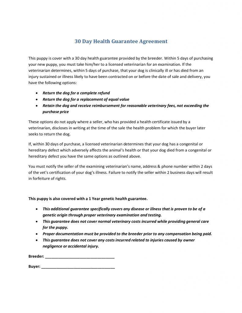 30 Day Health Guarantee Agreement